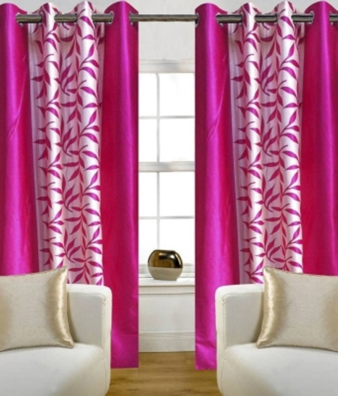 Red Hot Polyester Window Curtain 150 cm (4 ft) Pack of 2(Floral Pink)