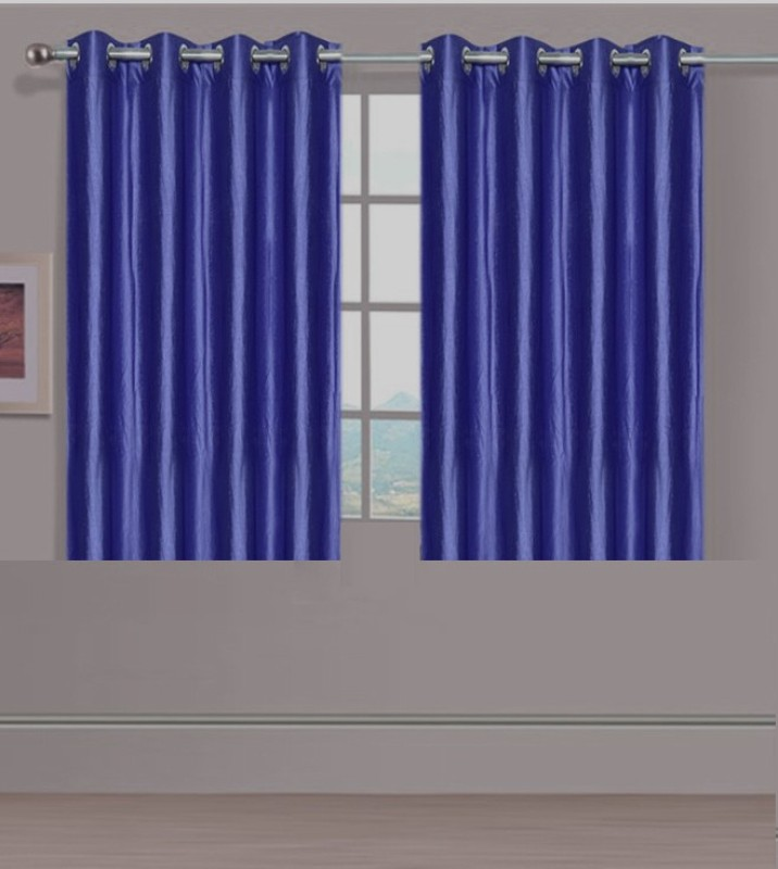 ExpressionsHome 152 cm (5 ft) Polyester Window Curtain (Pack Of 2)(Solid, Dark Blue)