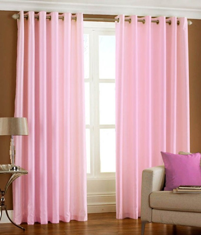 RK Home Furnishing 214 cm (7 ft) Polyester Door Curtain (Pack Of 2)(Solid, Pink)
