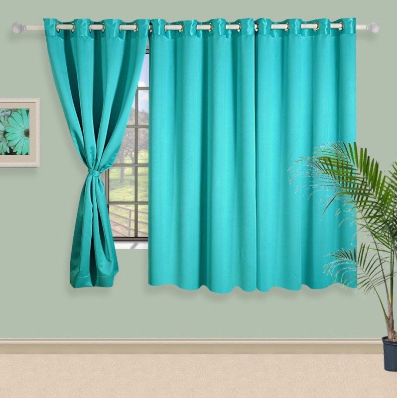 Swayam 150 cm (5 ft) Polyester Window Curtain Single Curtain(Solid, Blue)