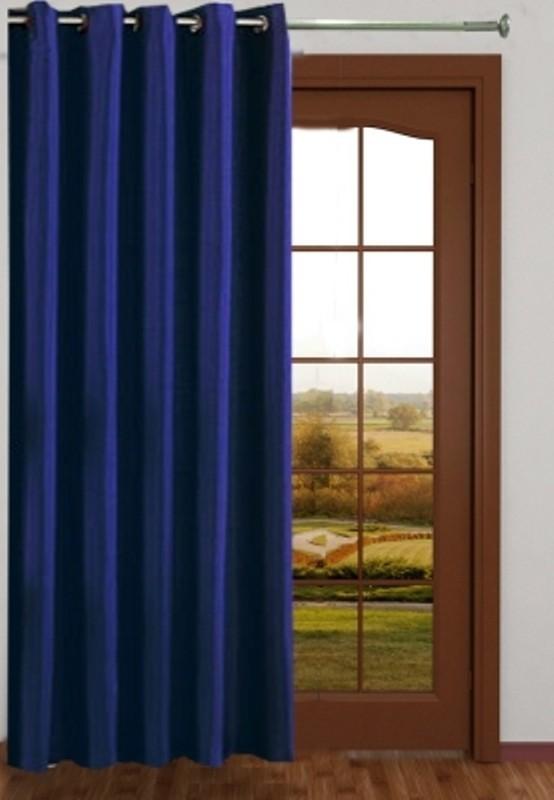 Deals | Red Hot Polyester Blue Plain Eyelet Door Curtain U