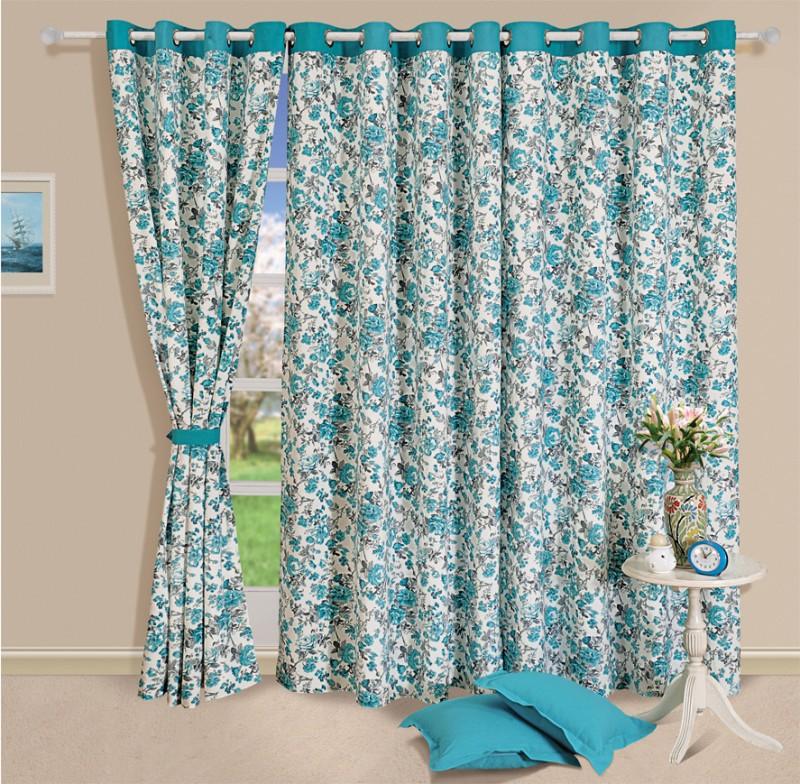 Swayam 228.6 cm (8 ft) Cotton Door Curtain Single Curtain(Floral, Blue)
