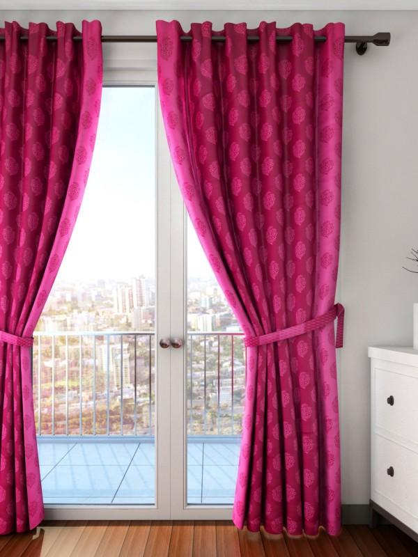 Swayam 261.36 cm (9 ft) Silk Long Door Curtain Single Curtain(Self Design, Pink)