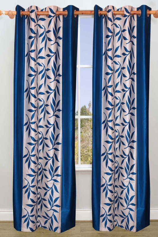 Ville Style 2.14 m (0 ft) Polyester Door Curtain (Pack Of 2)(Floral, Aqua)