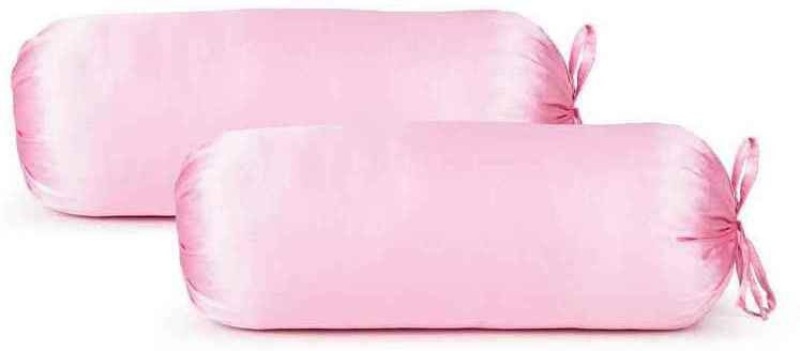 First Row Plain Bolsters Cover(Pack of 2, 77 cm, Pink)