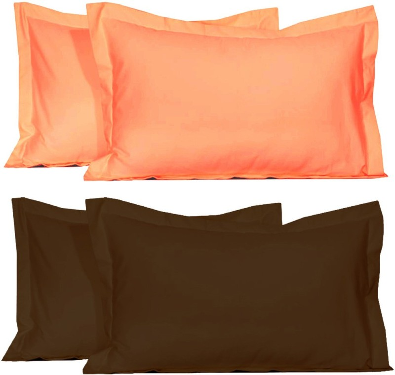 BELIVE-ME Solid Pillows Cover(Pack of 4, 42 cm*67 cm, Brown, Peach)