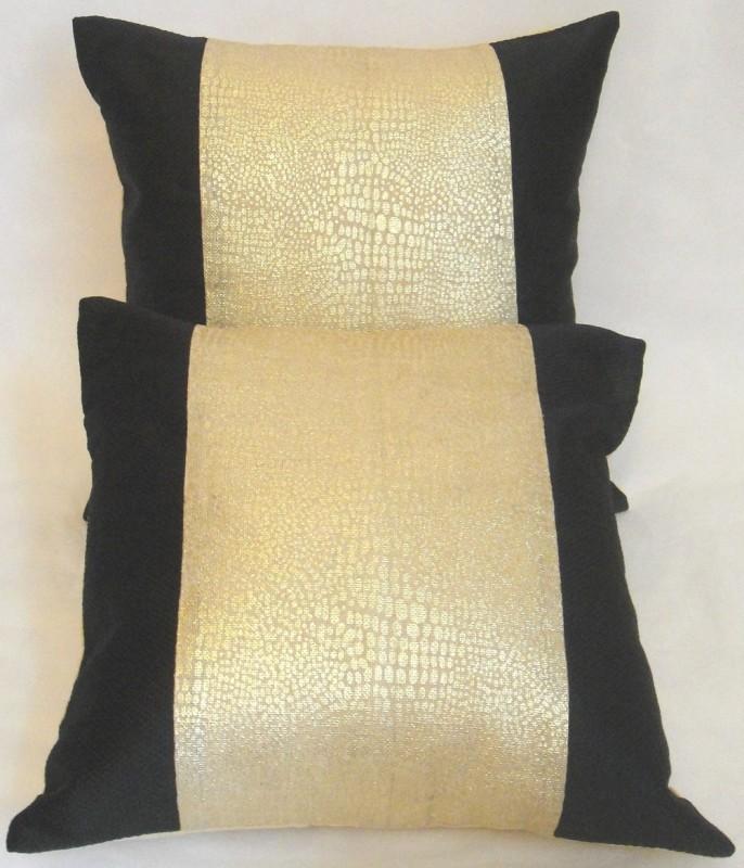 ASC Plain Cushions Cover(Pack of 2, 40.64 cm*40.64 cm, Gold, Black)