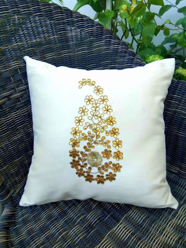 Royal DecoFurnishing Paisley Cushions Cover(Pack of 2, 40 cm*40 cm, White)