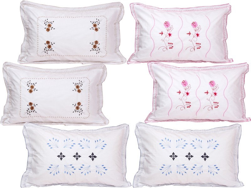 RJ Products Embroidered Pillows Cover(Pack of 6, 43 cm*66 cm, White)