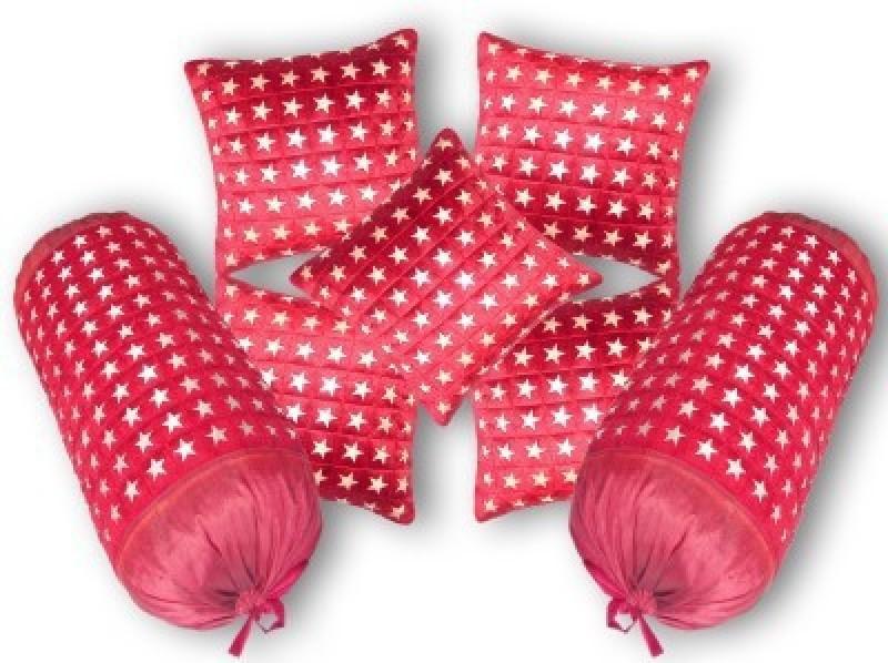 Nikunj Geometric Bolsters Cover(Pack of 7, 40 cm*75 cm, Maroon)