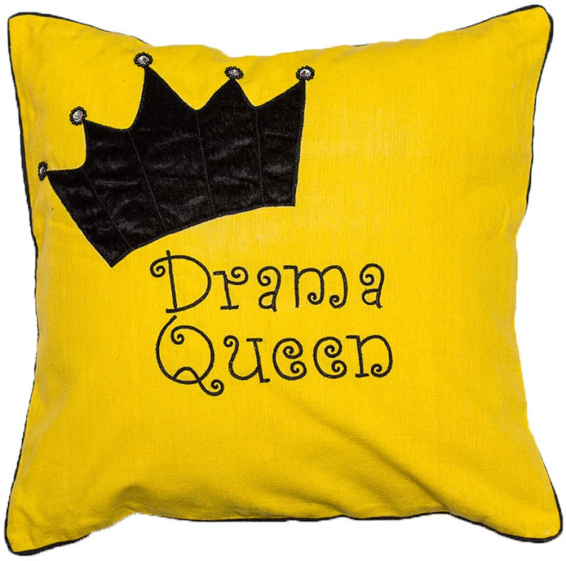 Band Box Embroidered Cushions Cover(40.64 cm*40.64 cm, Yellow)