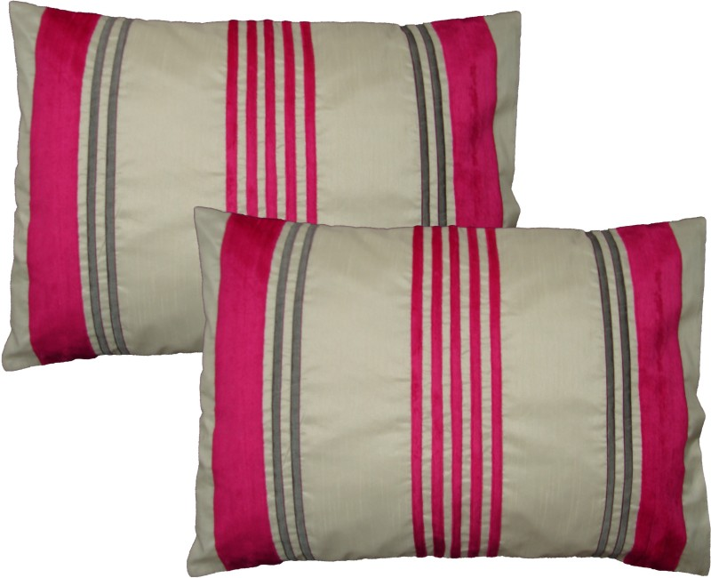 HOME SHINE Striped Pillows Cover(Pack of 2, 50 cm*70 cm, Pink)