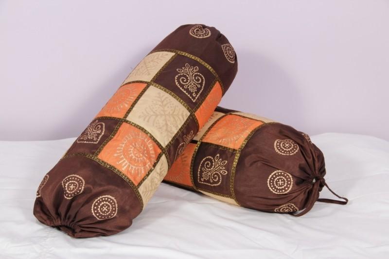 Soundarya Geometric Bolsters Cover(Pack of 2, 45 cm*90 cm, Brown, Orange, Beige)