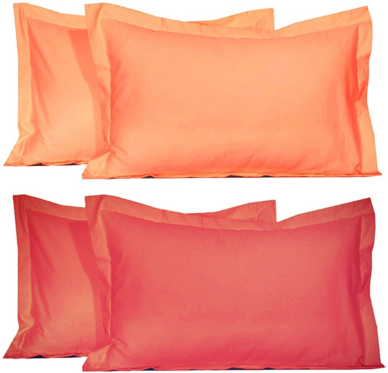 BELIVE-ME Solid Pillows Cover(Pack of 4, 42 cm*67 cm, Pink, Peach)