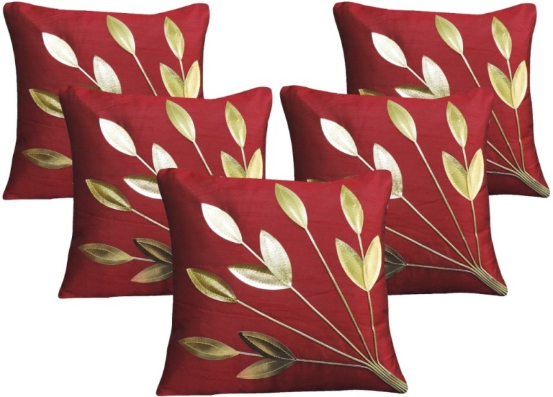 Decor Bazaar Floral Cushions Cover(Pack of 5, 40 cm*40 cm, Maroon, Gold)