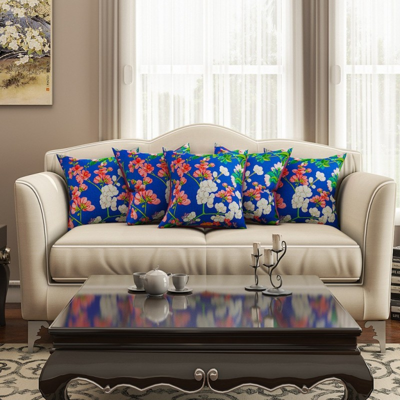 SEJ by Nisha Gupta Floral Cushions Cover(Pack of 5, 40.64 cm*40.64 cm, Multicolor)