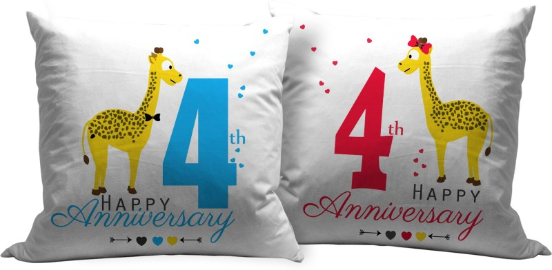 Tied Ribbons Text Print Cushions Cover(Pack of 2, 30 cm*30 cm, Multicolor)