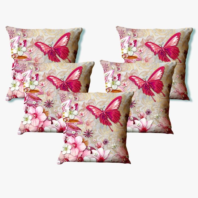 LA VERVE Floral Cushions Cover(Pack of 5, 40 cm*40 cm, Multicolor)