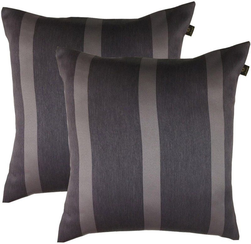 Lushomes Striped Cushions Cover(Pack of 2, 50 cm*50 cm, Grey)
