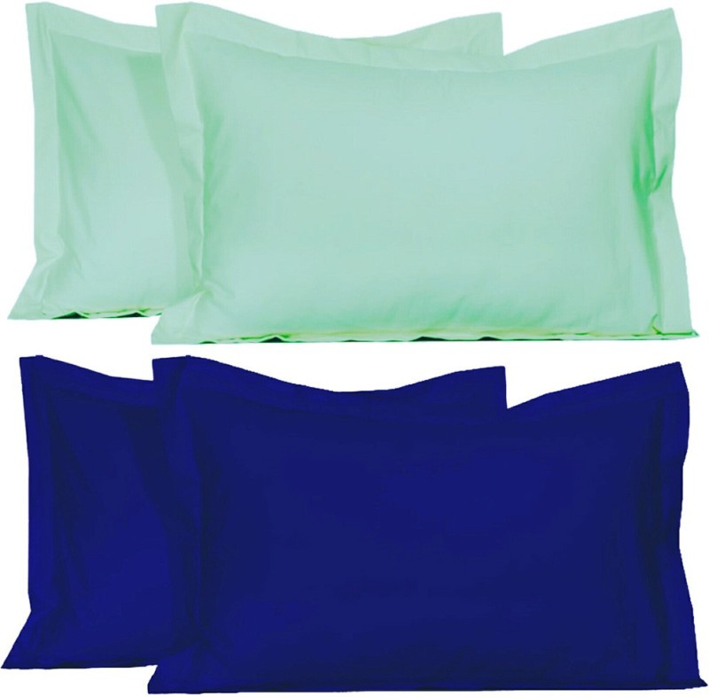 BELIVE-ME Solid Pillows Cover(Pack of 4, 42 cm*67 cm, Blue, Light Green)
