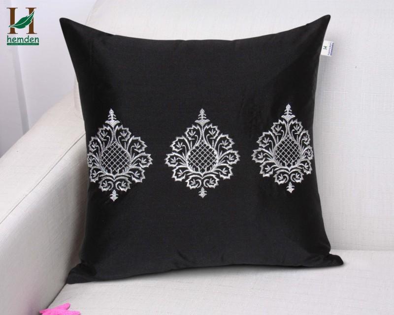 Hemden Motifs Cushions Cover(40 cm*40 cm, Black, Silver)