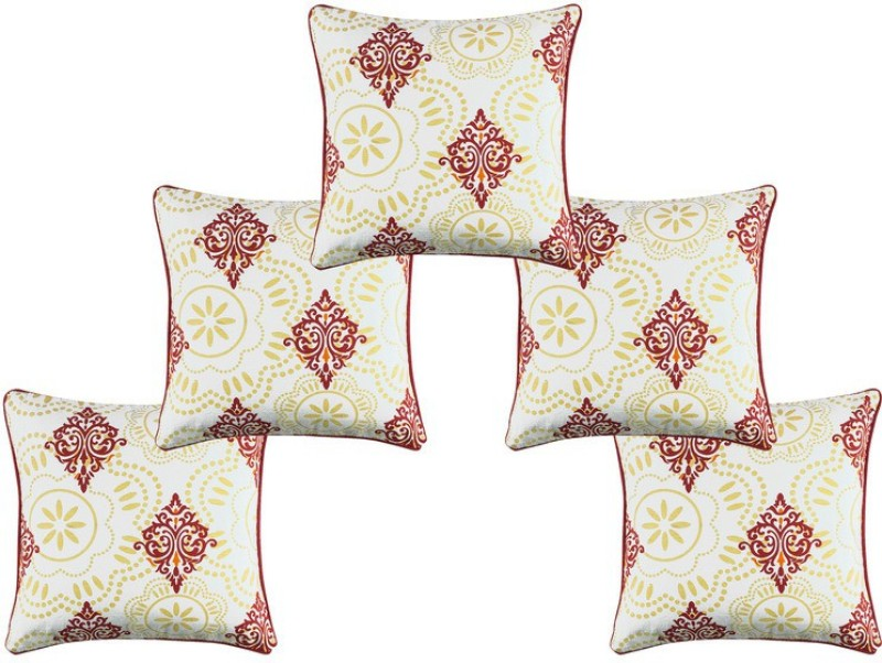 Soumya Furnishings Abstract Cushions Cover(Pack of 5, 30 cm*30 cm, Red, White)