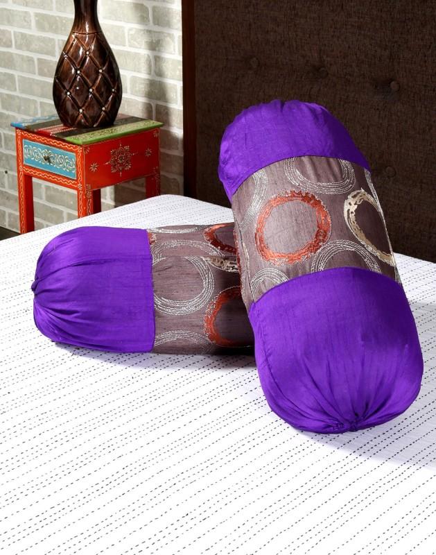 Rajrang Geometric Bolsters Cover(Pack of 2, 41 cm*81 cm, Purple)
