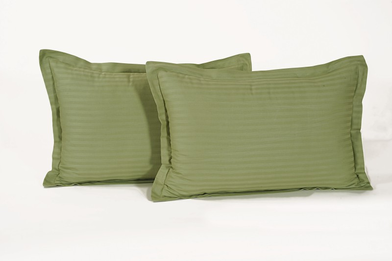 Swayam Striped Pillows Cover(Pack of 2, 46 cm*71 cm, Green)