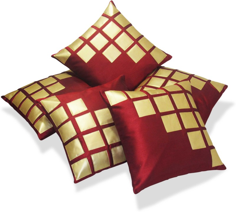 Zikrak Exim Abstract Cushions Cover(Pack of 5, 40 cm*40 cm, Gold, Maroon)