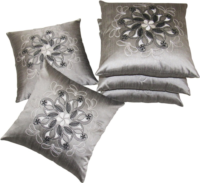 Zikrak Exim Embroidered Cushions Cover(Pack of 5, 40 cm*40 cm, Silver)
