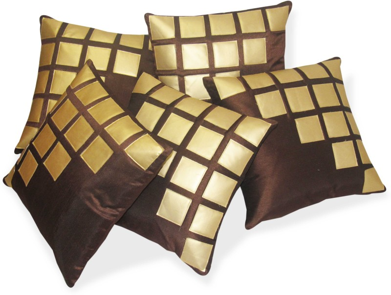 Zikrak Exim Abstract Cushions Cover(Pack of 5, 40 cm*40 cm, Gold, Brown)