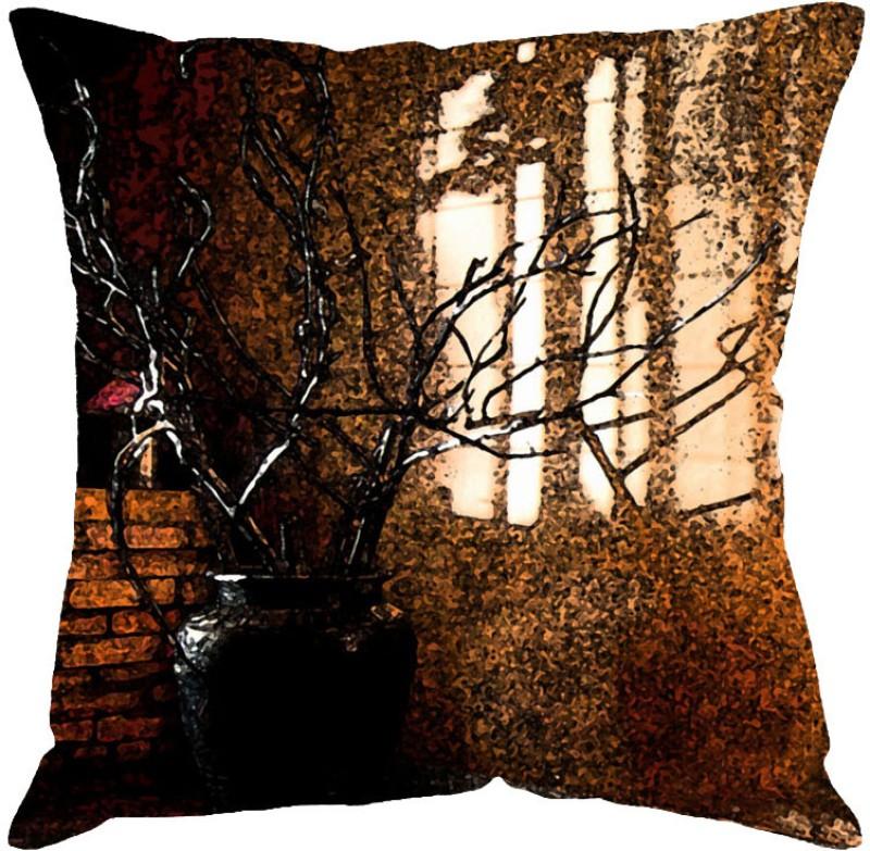 Fabulloso Printed Cushions Cover(41 cm*41 cm, Brown)