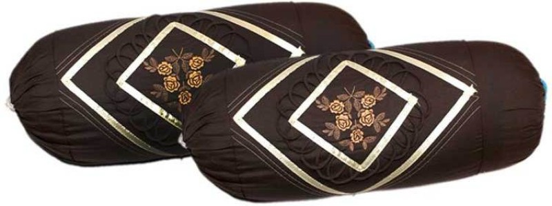 RJ Products Embroidered Bolsters Cover(Pack of 2, 38 cm*75 cm, Brown)