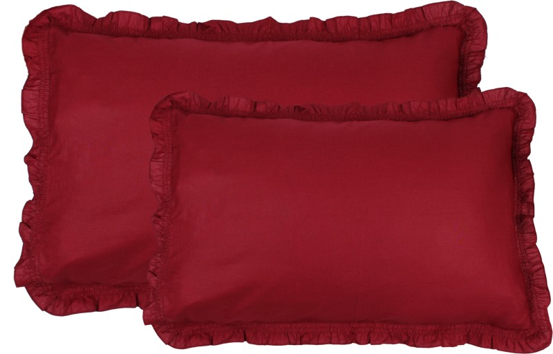 Shraddha Collections Solid Pillows Cover(Pack of 2, 40.65 cm*61 cm, Maroon)