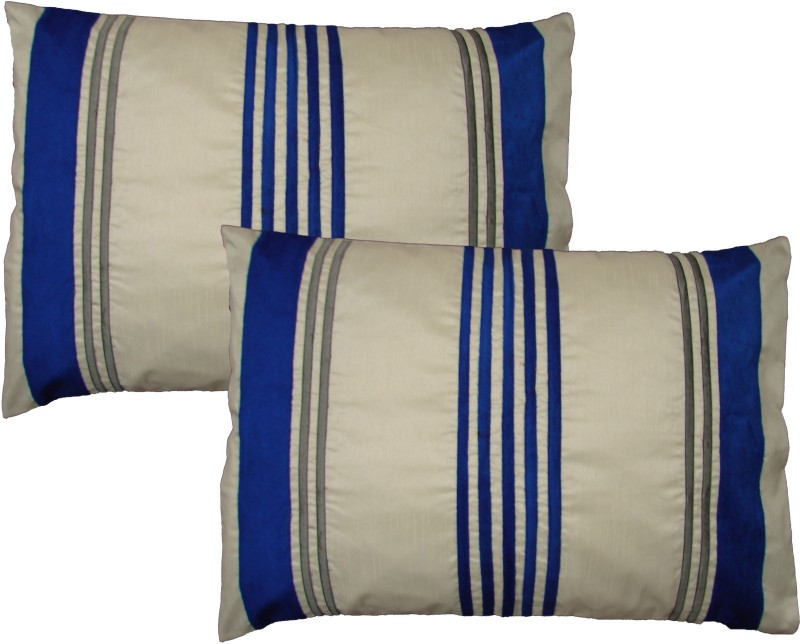 HOME SHINE Striped Pillows Cover(Pack of 2, 50 cm*70 cm, Blue)