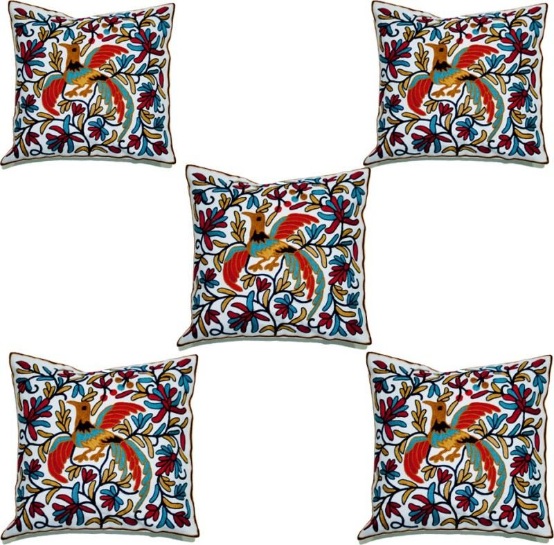 Koncepts Embroidered Cushions & Pillows Cover(Pack of 5, 42 cm*42 cm, Multicolor)
