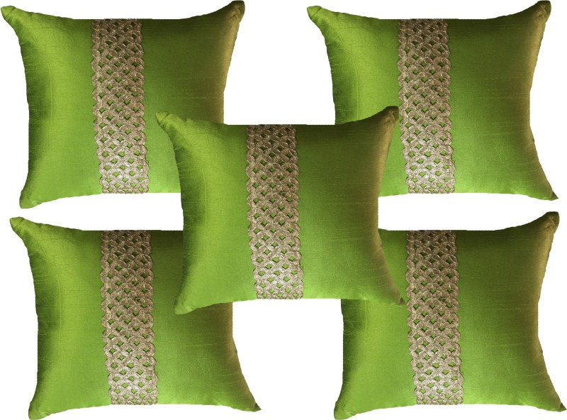 HOME SHINE Striped Cushions Cover(Pack of 5, 40 cm*40 cm, Green)