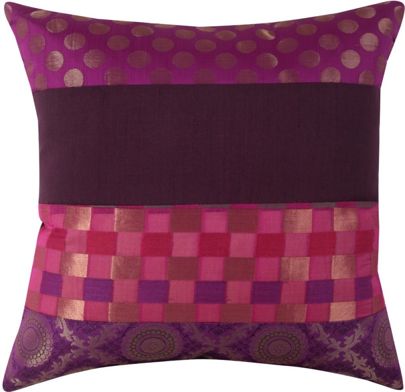 Rajrang Polka Cushions Cover(41 cm*41 cm, Pink, Purple)