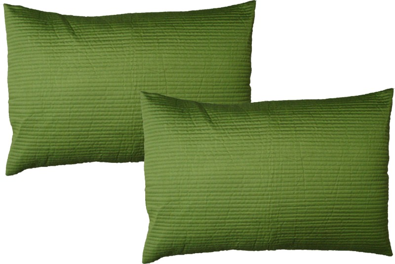 HOME SHINE Striped Pillows Cover(Pack of 2, 45 cm*70 cm, Light Green)