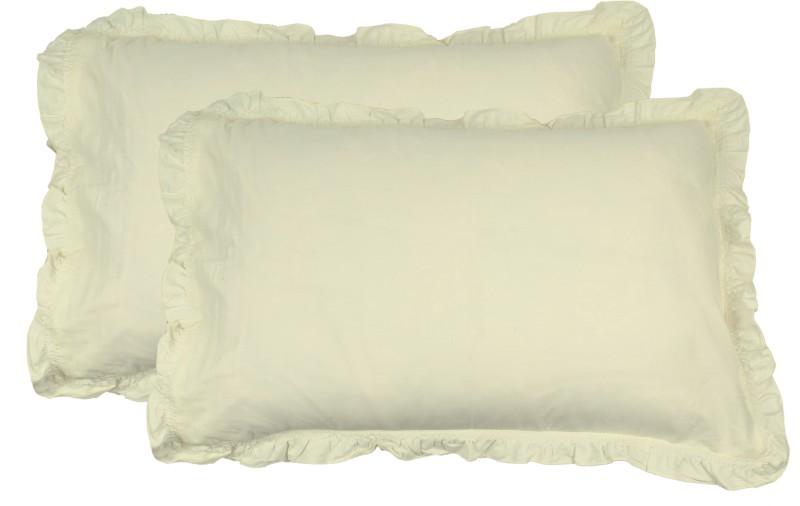 Shraddha Collections Solid Pillows Cover(Pack of 2, 40.65 cm*61 cm, White, Yellow)