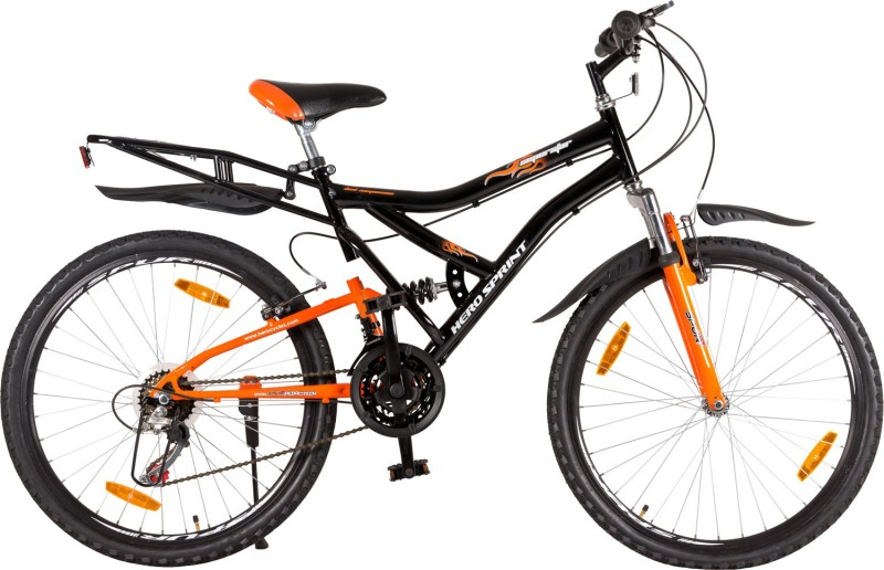 Hero SuperStar Dwrim Glsy 26 T 18 Speed Road Cycle(Black, Orange)