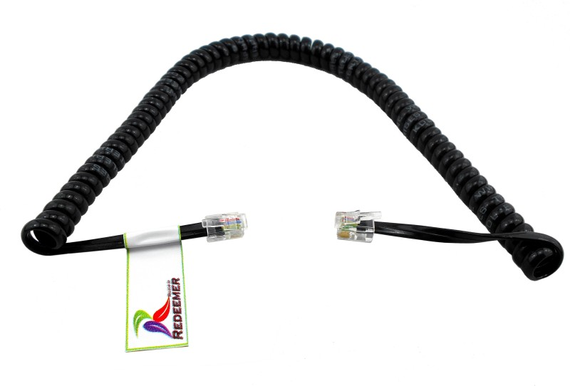 Redeemer 6 Feet Spiral RJ11 Telephone to Receiver Patch Cable(Black)