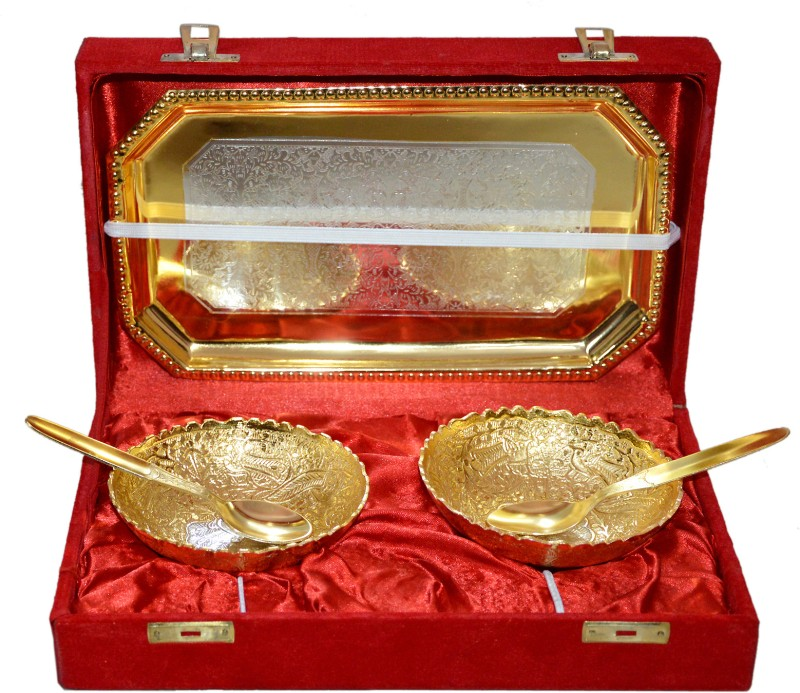 Marusthali Box Packing Brass Decorative Platter(Gold, Pack of 5)