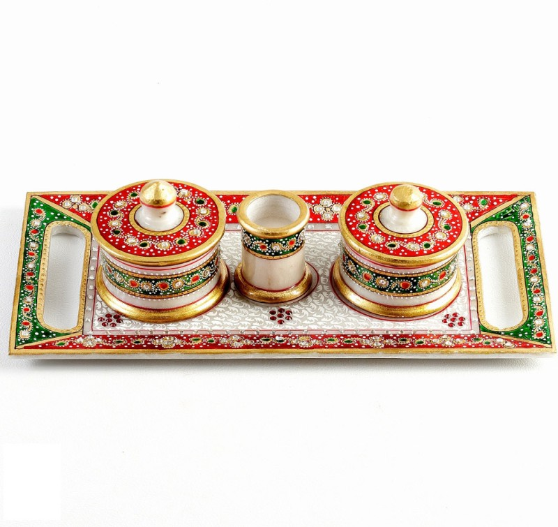 Aapno Rajasthan Hand - Painted White Marble Utility Container Set Stoneware Decorative Platter(Multicolor, Pack of 4)