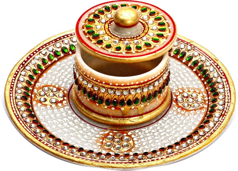 Aapno Rajasthan Stoneware Decorative Platter(White, Gold, Pack of 2)