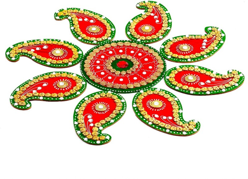 Aapno Rajasthan Wooden Decorative Platter(Red, Green)