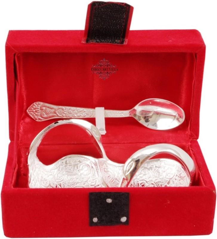 IndianArtVilla Silver Plated Decorative Platter(Silver, Pack of 2)
