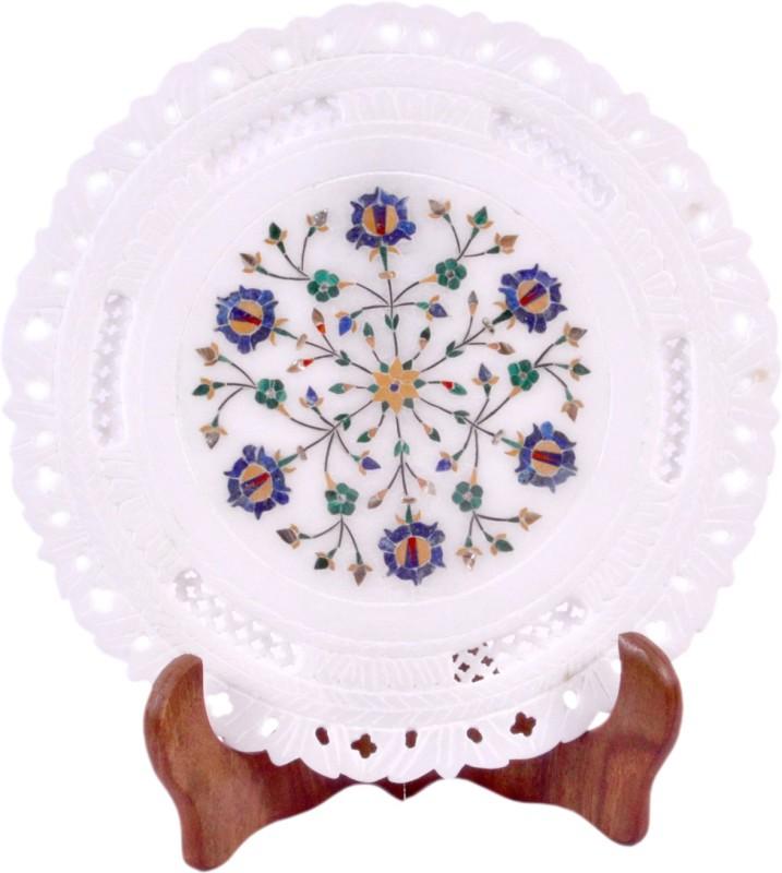 Avinash Handicrafts White Stone Inlaid Plate 9 Stoneware Decorative Platter(White)