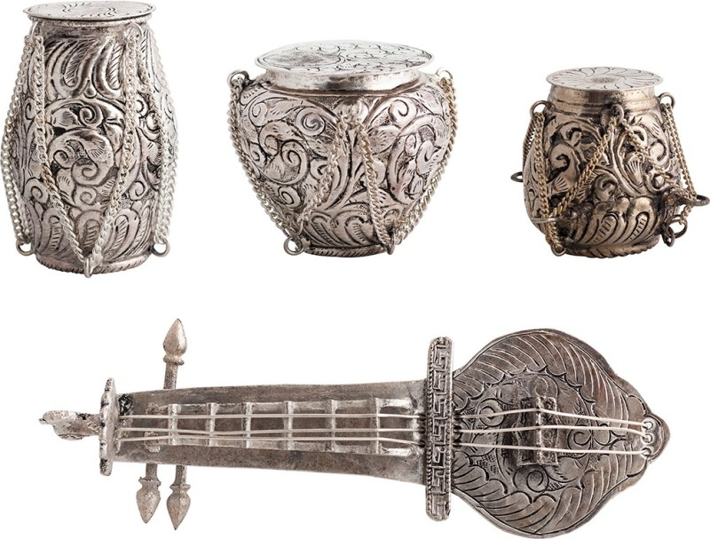 JaipurCrafts Musical Instruments Mouth Freshner Container Silver Plated Decorative Platter(Silver, Pack of...