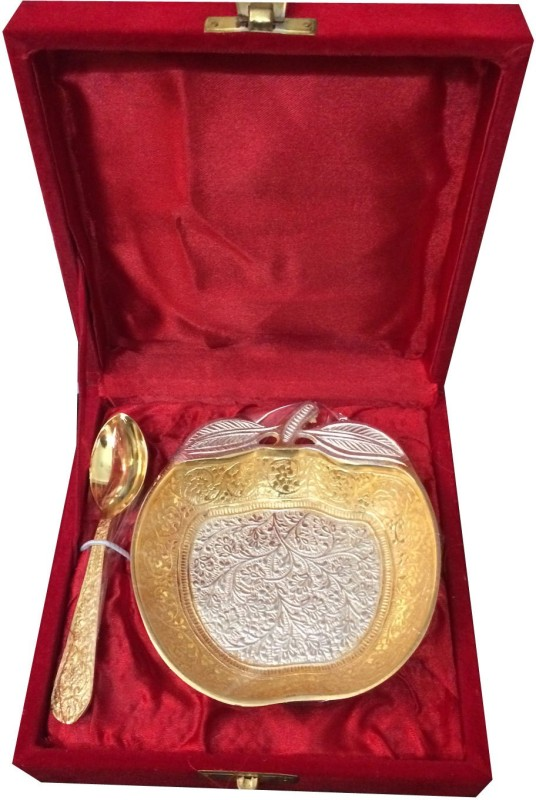 Craft India Brass Decorative Platter(Silver, Gold, Pack of 2)